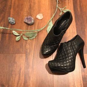 Gianni Bini Quilted Black Leather Platform Heels